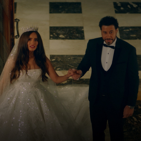 The newly married couple, Yasmine and Tarek, return to the house to tr