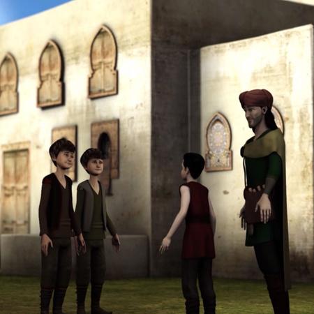 يلتقي ابن بطوطة بعم الصبيان الثلاثة و يتفق معه على مساعدتهم و تعليمهم
